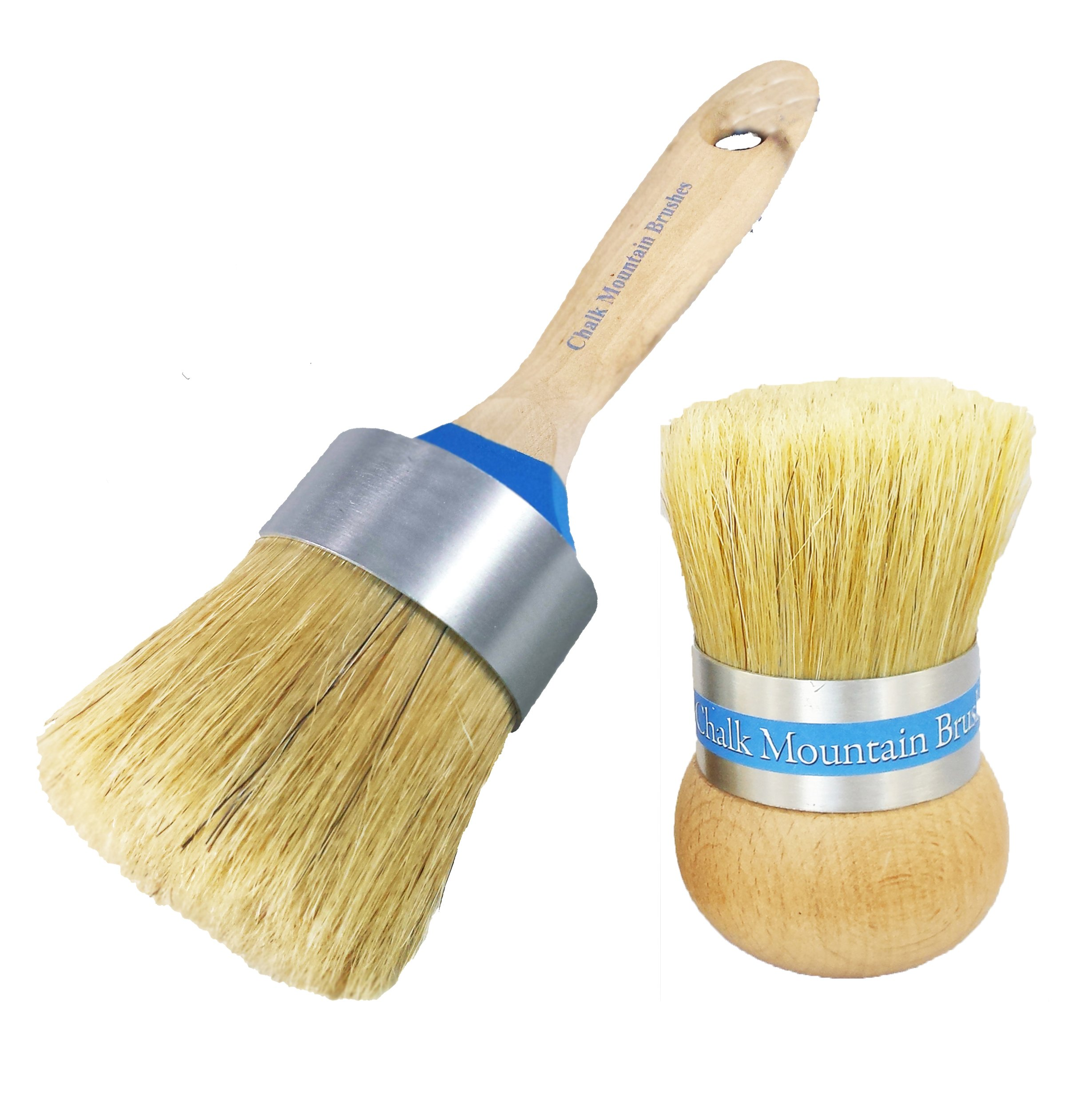 Chalk Mountain Brushes - Large Boar Hair Bristle Paint Brush & Large Palm Wax, upholstery &/or Stencil Brush - Designed by Chalk Mountain for Maxiumum comfort