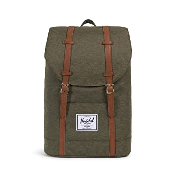 distinctive design authorized site sold worldwide Herschel Retreat Backpack Ivory Green Slub/Tan Synthetic Leather One Size