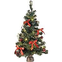 Bambelaa! Künstlicher Weihnachtsbaum Christbaum 75cm komplett geschmückt dekoriert mit Kugeln, Sternen, Tannezapfen, Schleifen, Girlande 20er LED Lichterkette 1 Stück Batterie (versch. Farben)