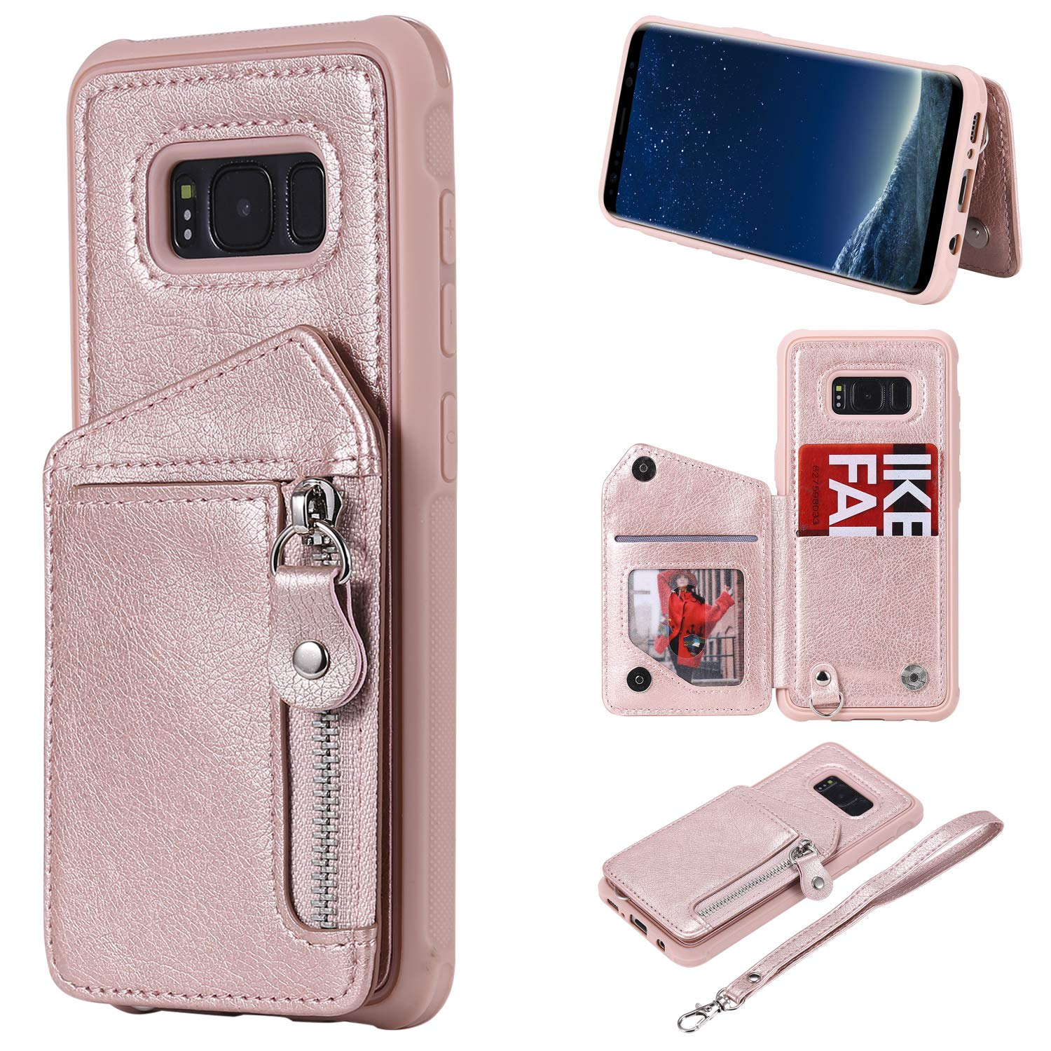 DAMONDY Case for Galaxy S8, Zipper Wallet Purse Card Holders Design Cover Soft Shockproof Bumper Folio Flip Leather Kickstand Clasp Wrist Strap Case for Samsung Galaxy S8 2017-Rose Gold by DAMONDY