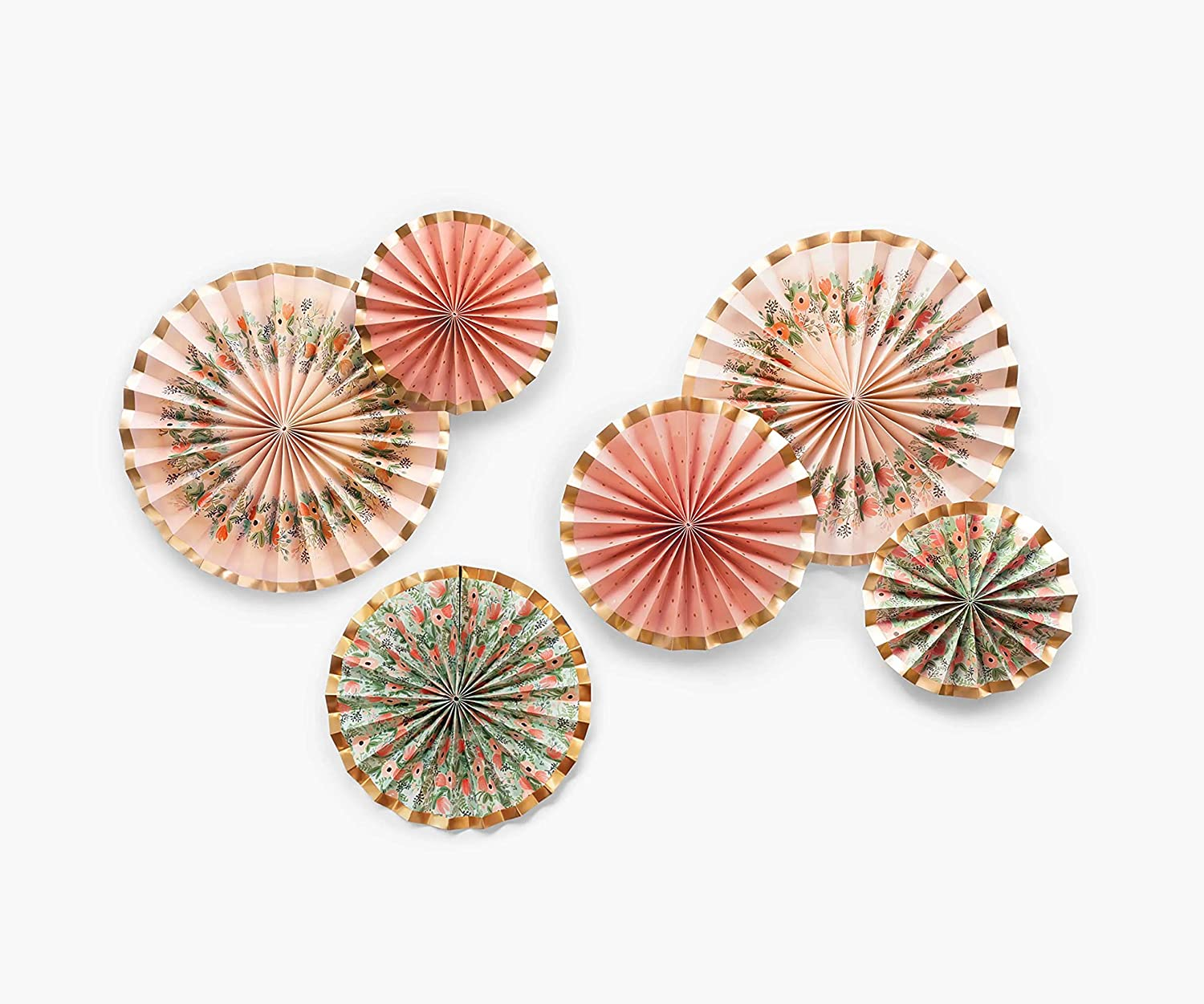 RIFLE PAPER CO. Wildflowers Fans, Durable Decorative Paper Fans, Set of 6, Different Sizes, Includes Adhesive Strips, Paperclips, and String, Displays as Backdrop