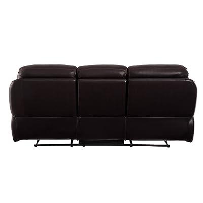 "Homelegance Verkin 85"" Genuine Leather Match Double Reclining Sofa, Brown"