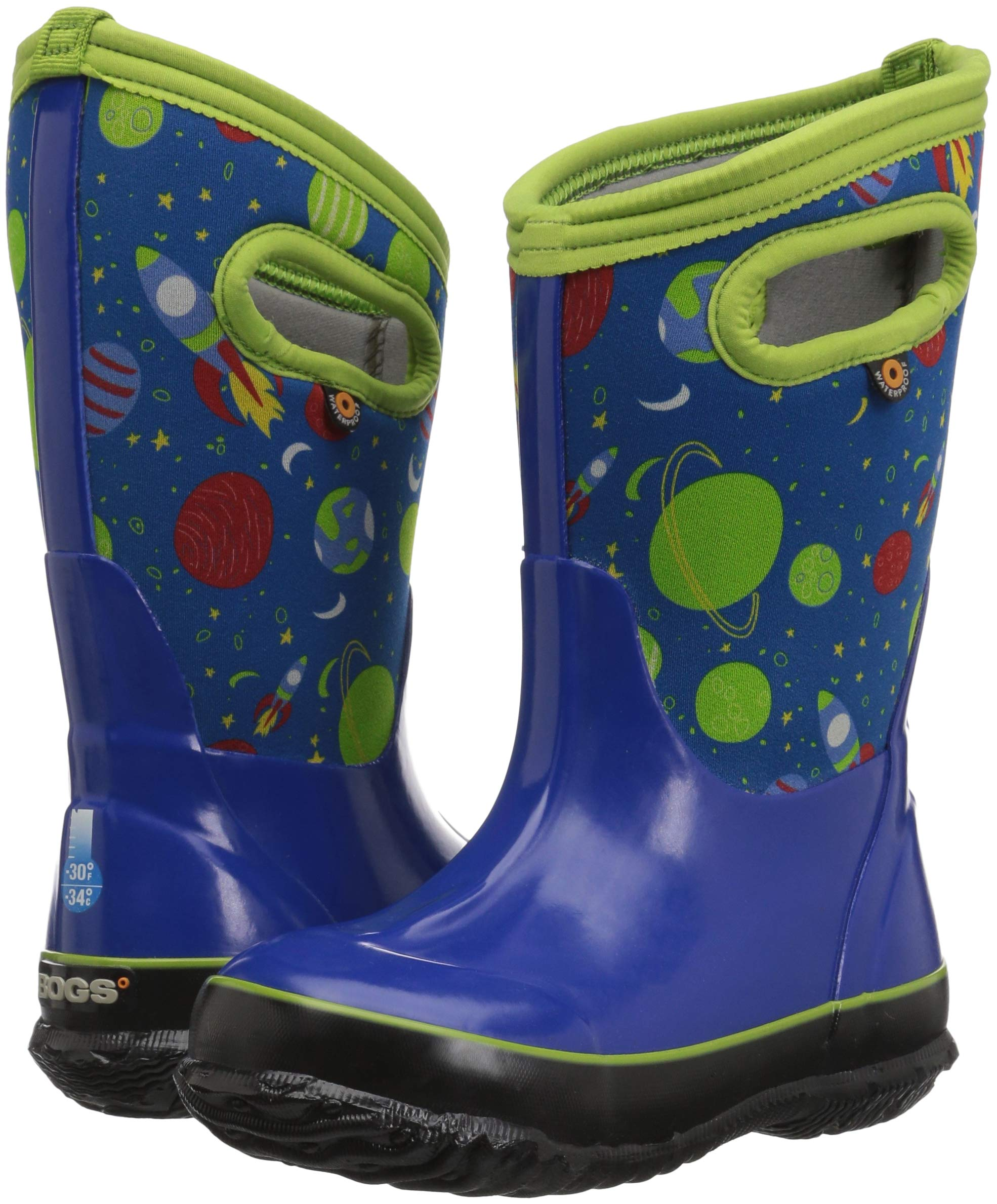 Bogs Classic High Waterproof Insulated Rubber Neoprene Rain Boot Snow, Space Blue/Multi, 11 M US Little Kid by Bogs (Image #6)