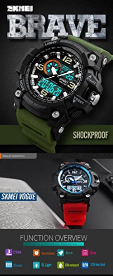 Amazon.com: SKMEI 1283 LED And Pointer Display 50M Multifunctional Waterproof Calendar Stopwatch Sports Watches (Army Green): Watches
