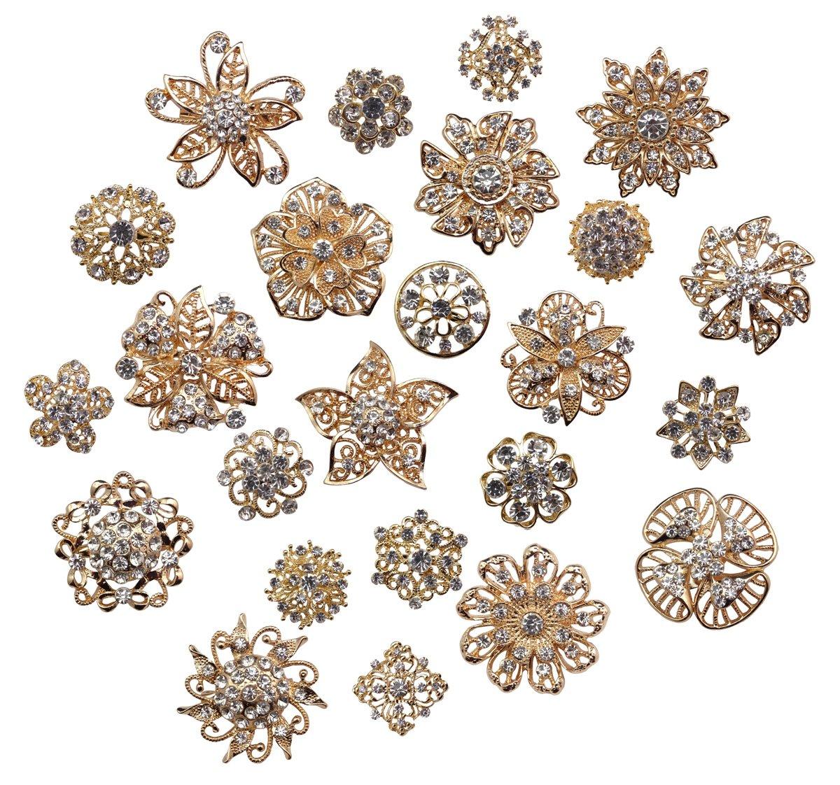 Zakia Lot 24pcs Crystal Flower Bridal Brooch Pin Brooches Rose Gold