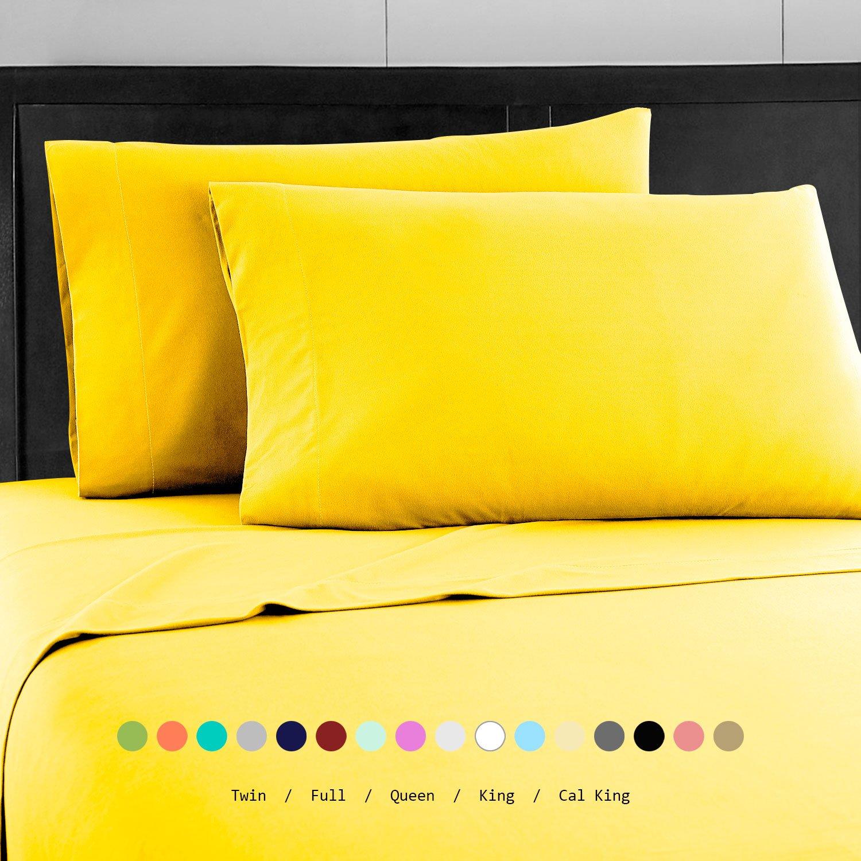 Prime Bedding ベッドシーツセット マイクロファイバー 2000 寝具4枚セット California King イエロー B076PN41ZL California King|イエロー イエロー California King