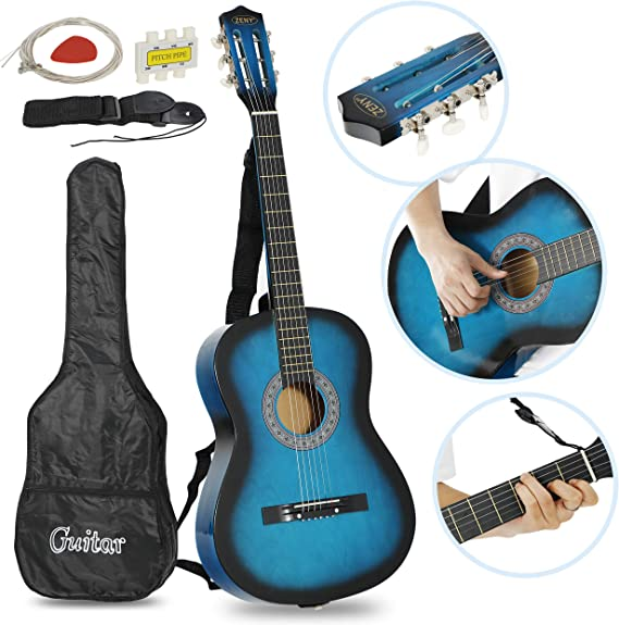 ZENY 38'' Acoustic Guitar Full Size Beginners Package Kit for Right-handed Starters Kids Music Lovers w/Case