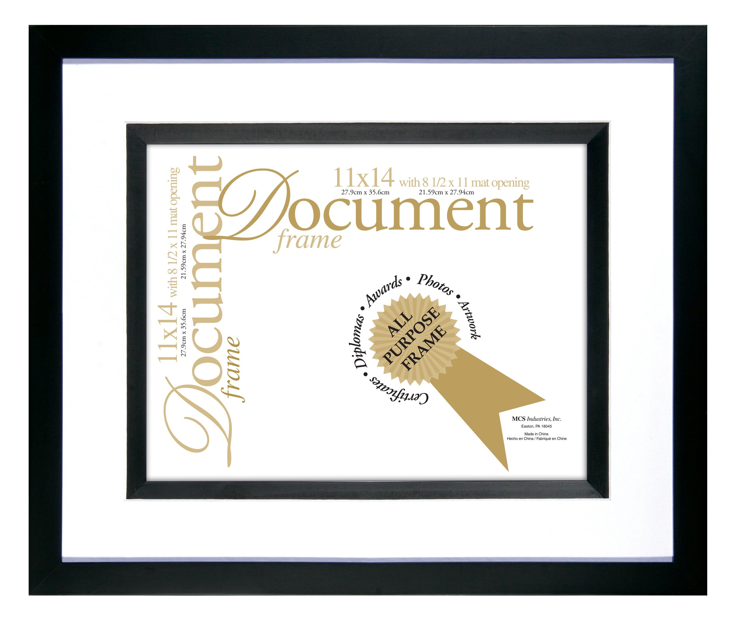 MCS 11x14 Inch Silhouette Frame with 8-1/2x11 Inch Opening for Documents, Black (69964)