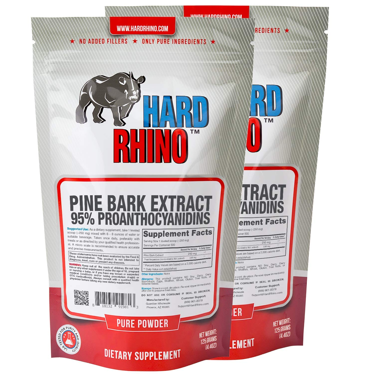 Hard Rhino Pine Bark Extract 95% Proanthocyanidins Powder, 250 Grams (8.8 Oz), Unflavored, Lab-Tested, Scoop Included