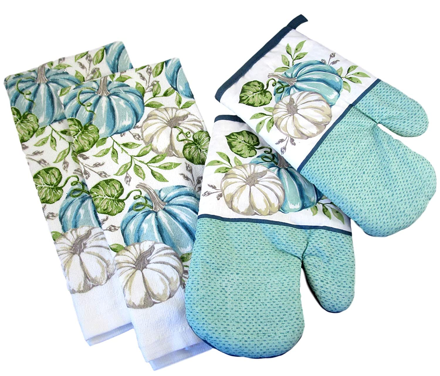 Fall Harvest Thanksgiving Kitchen Towels and Oven Mitts - Bundle of 4 Items: 2 Dish Towels and 2 Oven Mitts (Teal and White Pumpkins - Green Leaves)