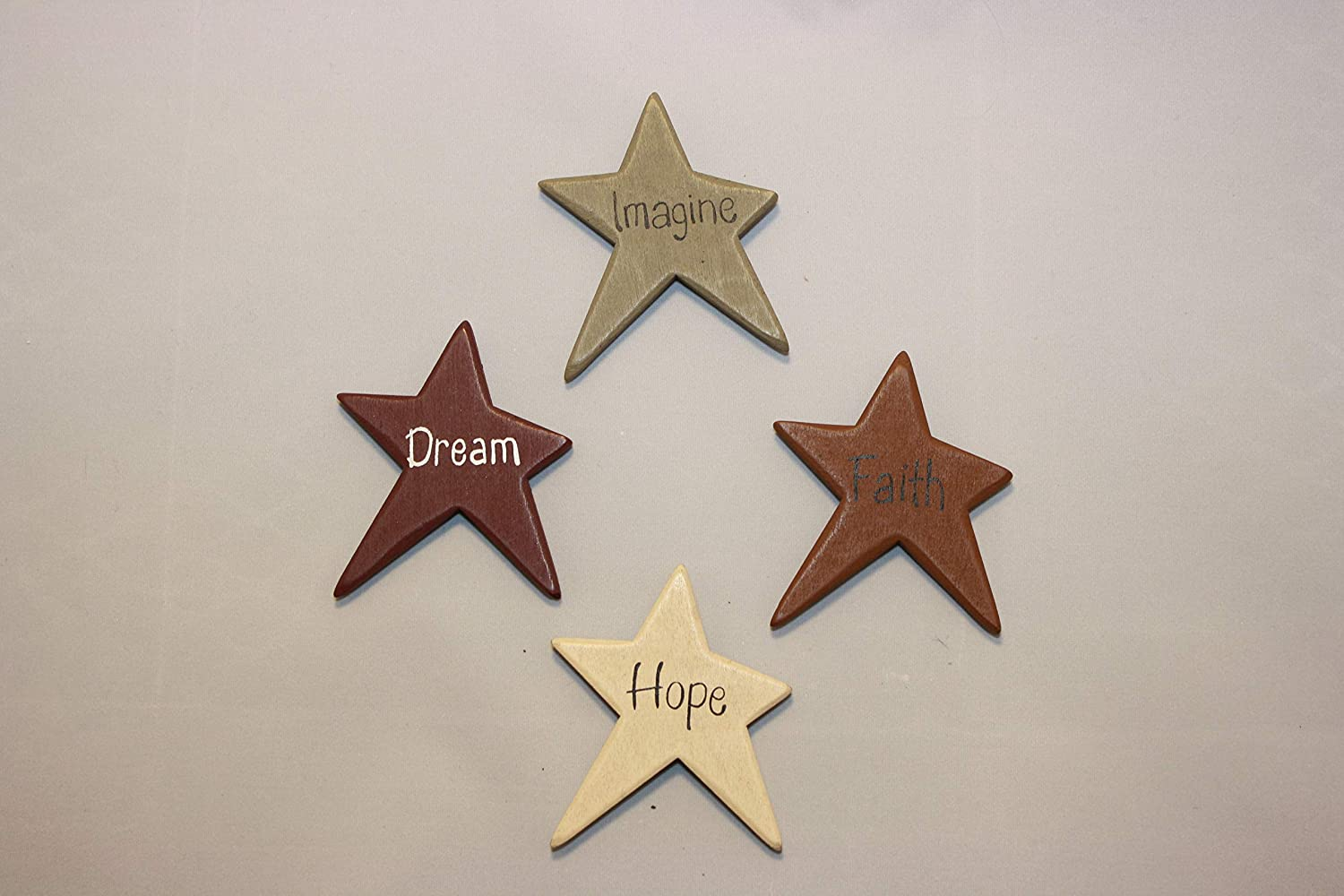 Set of 4 Star Magnets - Wood - Hearthside - Hope, Dream, Faith, Imagine - Primitive Design - Cute Gift Idea