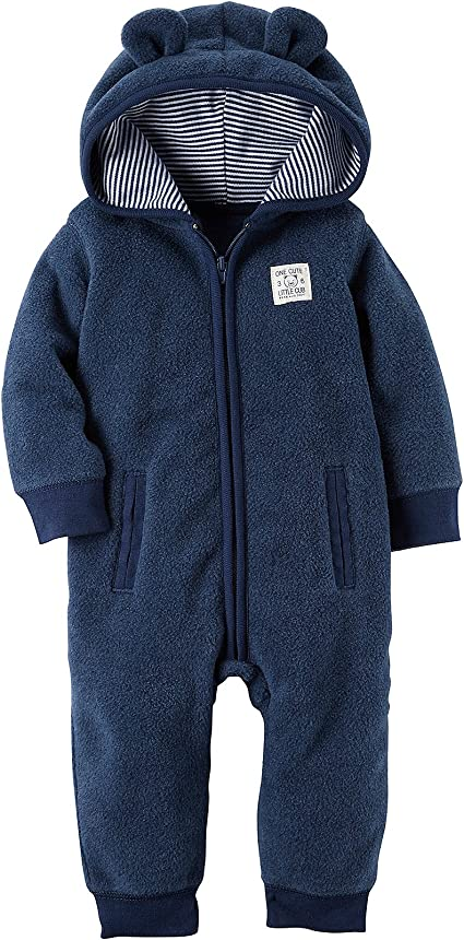 Carter/'s Baby Boy Zip-Up Jumpsuit With Hood SIZE 6 MONTHS