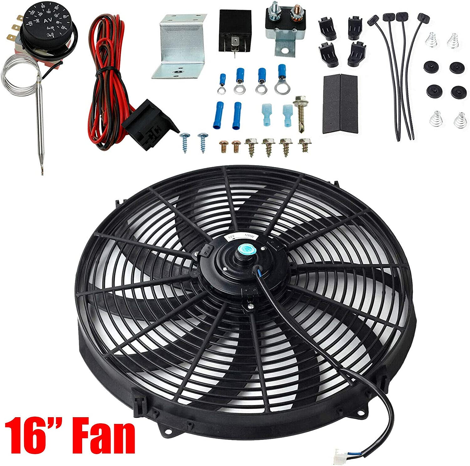 """BLACKHORSE-RACING 16"""" Slim Push Pull 12V Electric Radiator Cooling Fan with Adjustable Electric 12V Radiator Fan Thermostat Control Relay Wire Kit for Car Truck"""