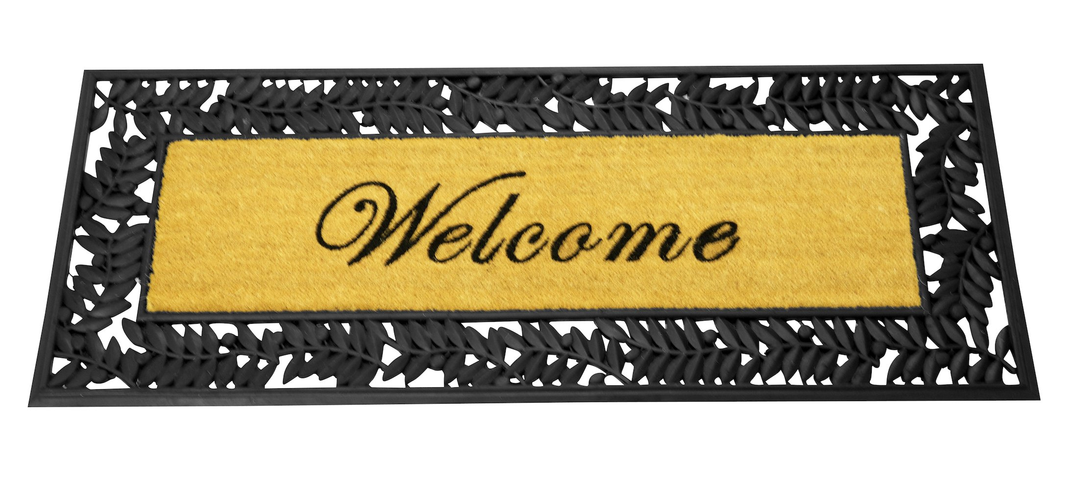 Leaves Welcome Wrought Iron Rubber Mat with Coir 24 x 57 inches