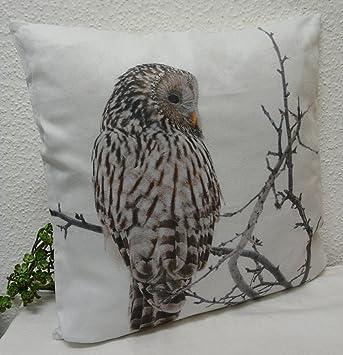Vintage Dekokissen Kissen Cushion Schnee Eule Weiß