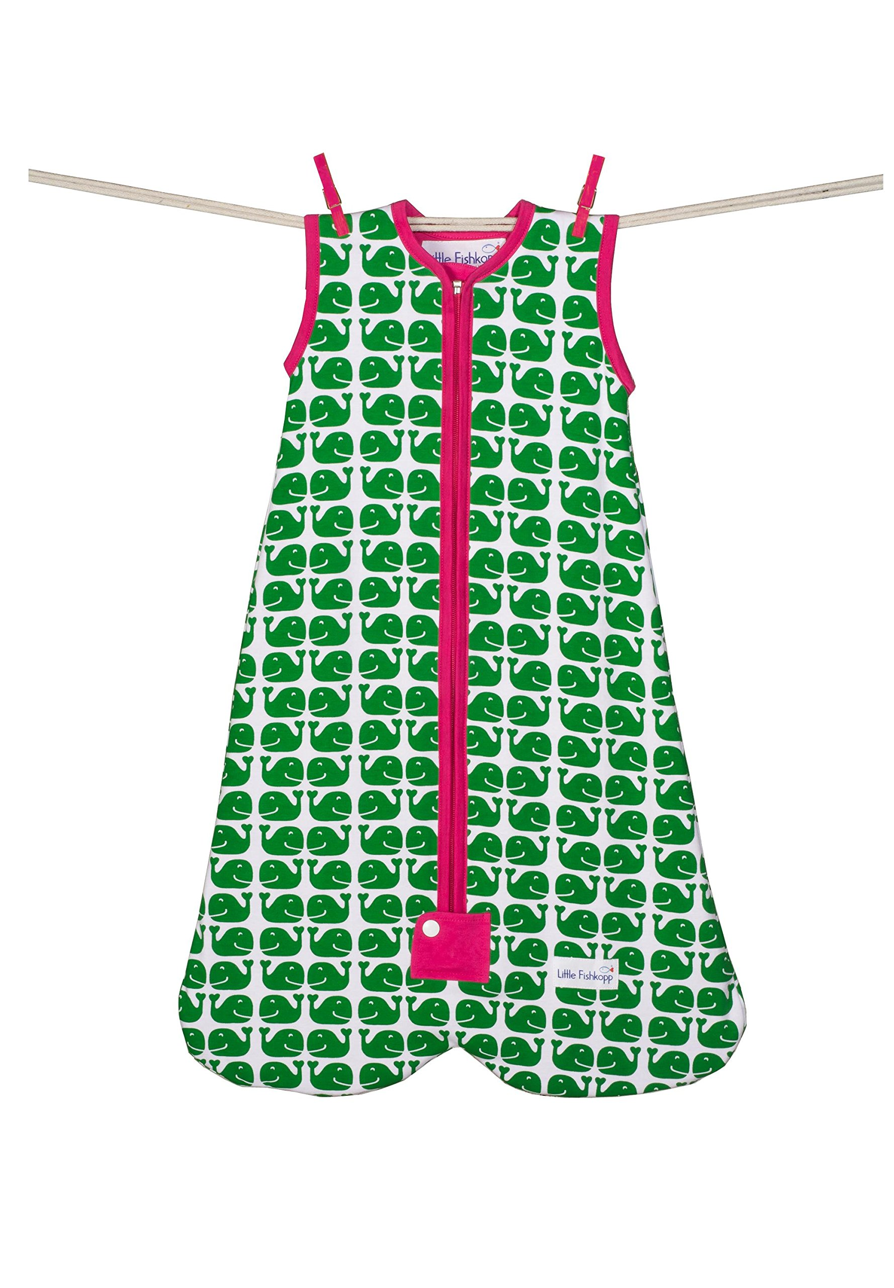 Little Fishkopp Organic Cotton Baby Sleep Bag, Whales, 1.0 Tog, Green, Medium