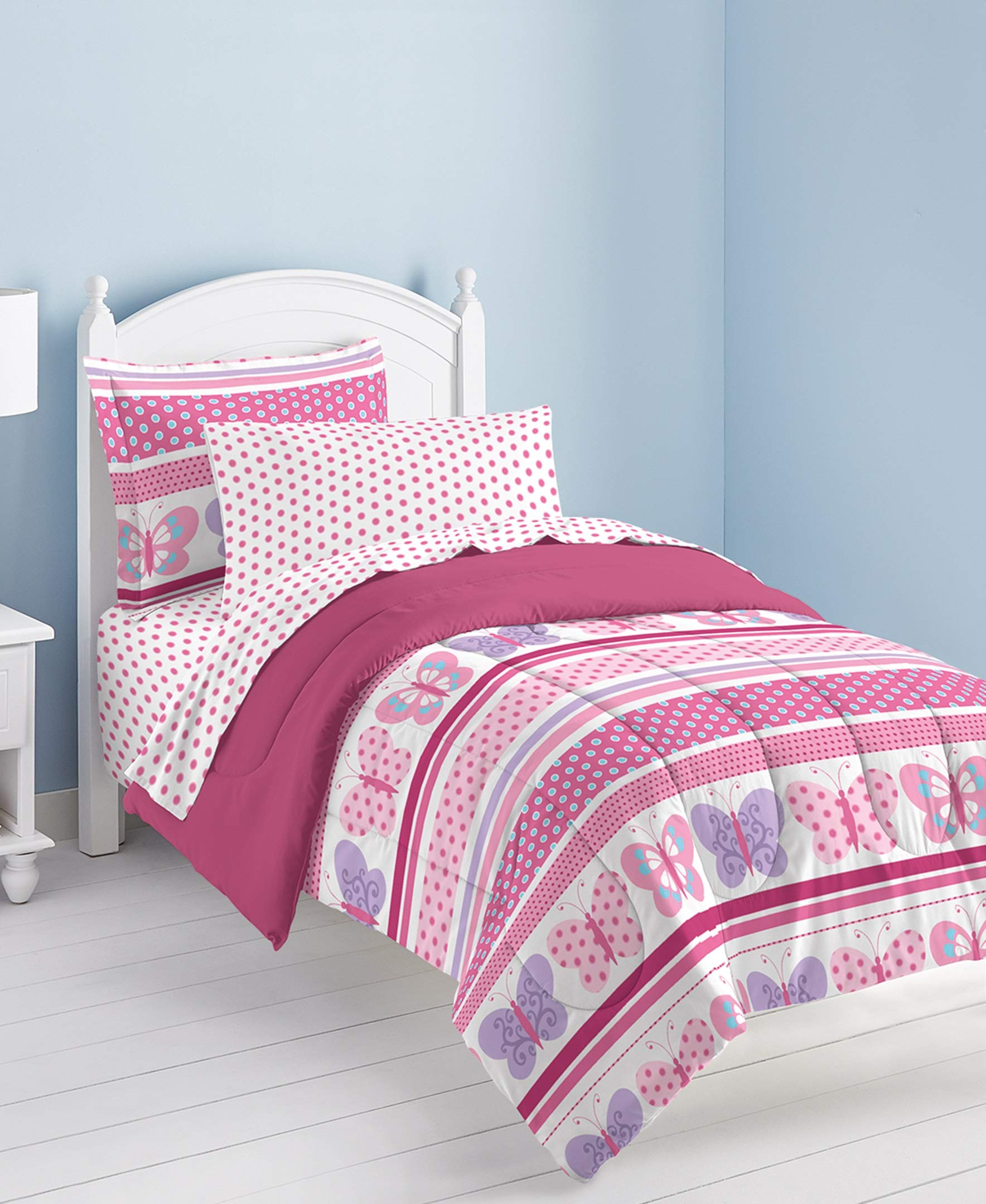 Dream Factory Butterfly Dots Ultra Soft Microfiber Girls Comforter Set, Pink, Twin by Dream Factory (Image #6)