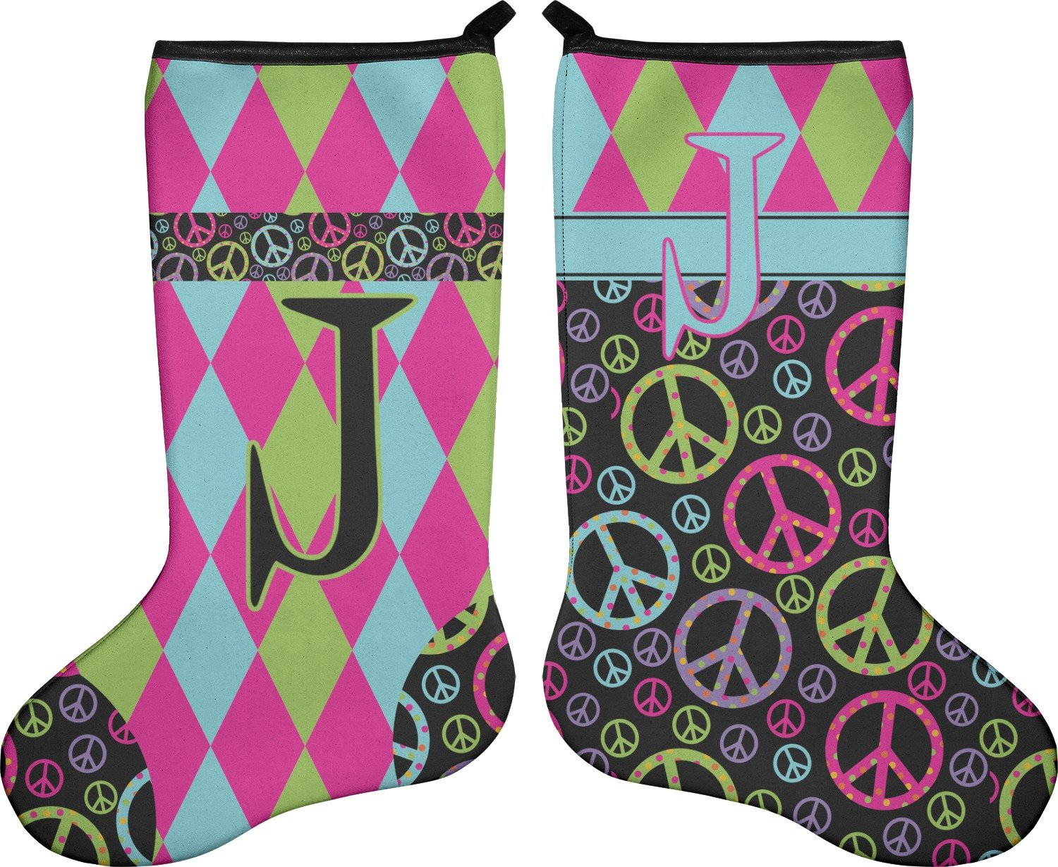 43d59710e Amazon.com  RNK Shops Harlequin   Peace Signs Christmas Stocking -  Double-Sided - Neoprene (Personalized)  Home   Kitchen