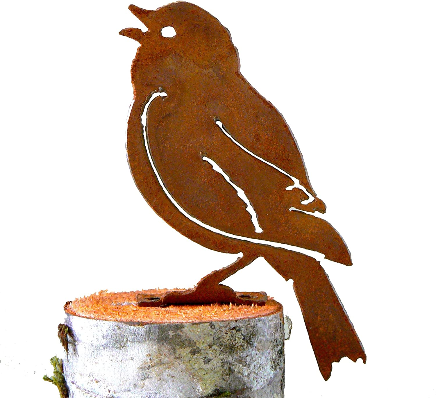 Elegant Garden Design Painted Bunting, Steel Silhouette with Rusty Patina