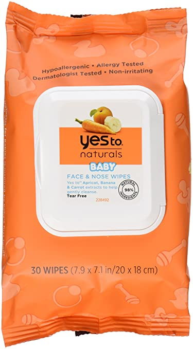 Yes To Carrots Naturals Baby Face and Nose Wipes, 30 Count
