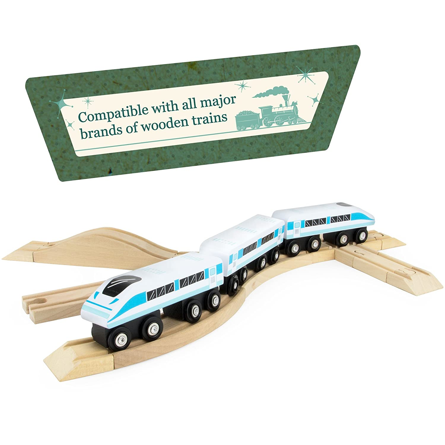Compatible with All Major Toy Train Brands by Conductor Carl 4-Piece 3.5 Straight Wooden Train Track Value Booster Pack