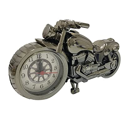 ROOVON Motorcycle Alarm Clock Desk Shelf Clock Unique Gift for Motorcycle Fans Children Kids Luxury Retro Decoration for Home.Gray