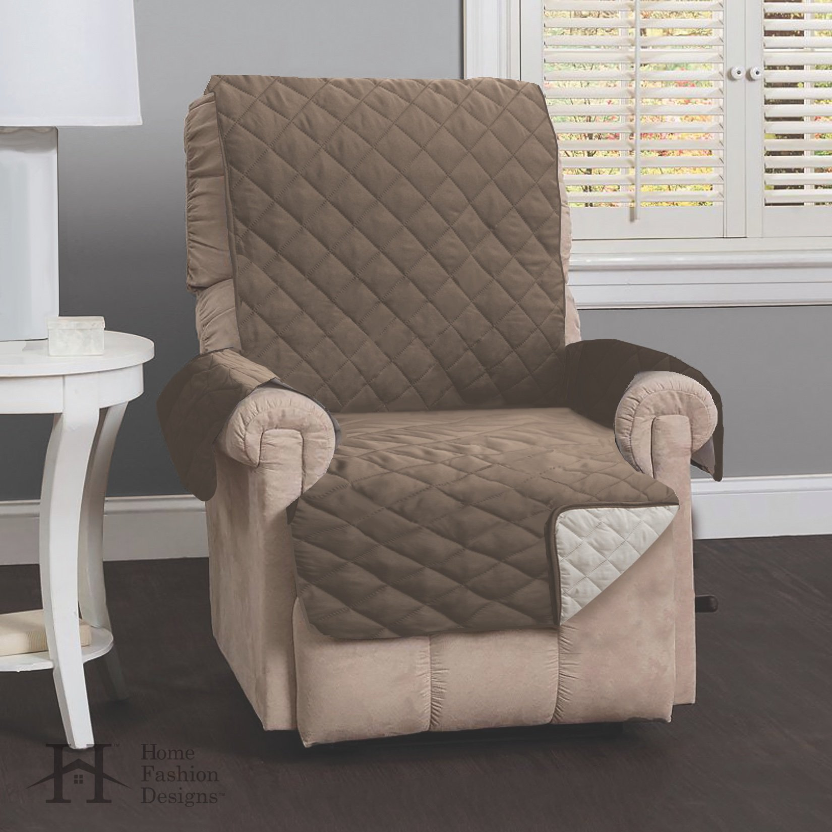 Home Fashion Designs Deluxe Reversible Quilted Furniture Protector and PET PROTECTOR. Two Fresh Looks in One. Perfect for Families with Pets and Kids. By Brand. (Recliner - Prairie/Flax) by Home Fashion Designs