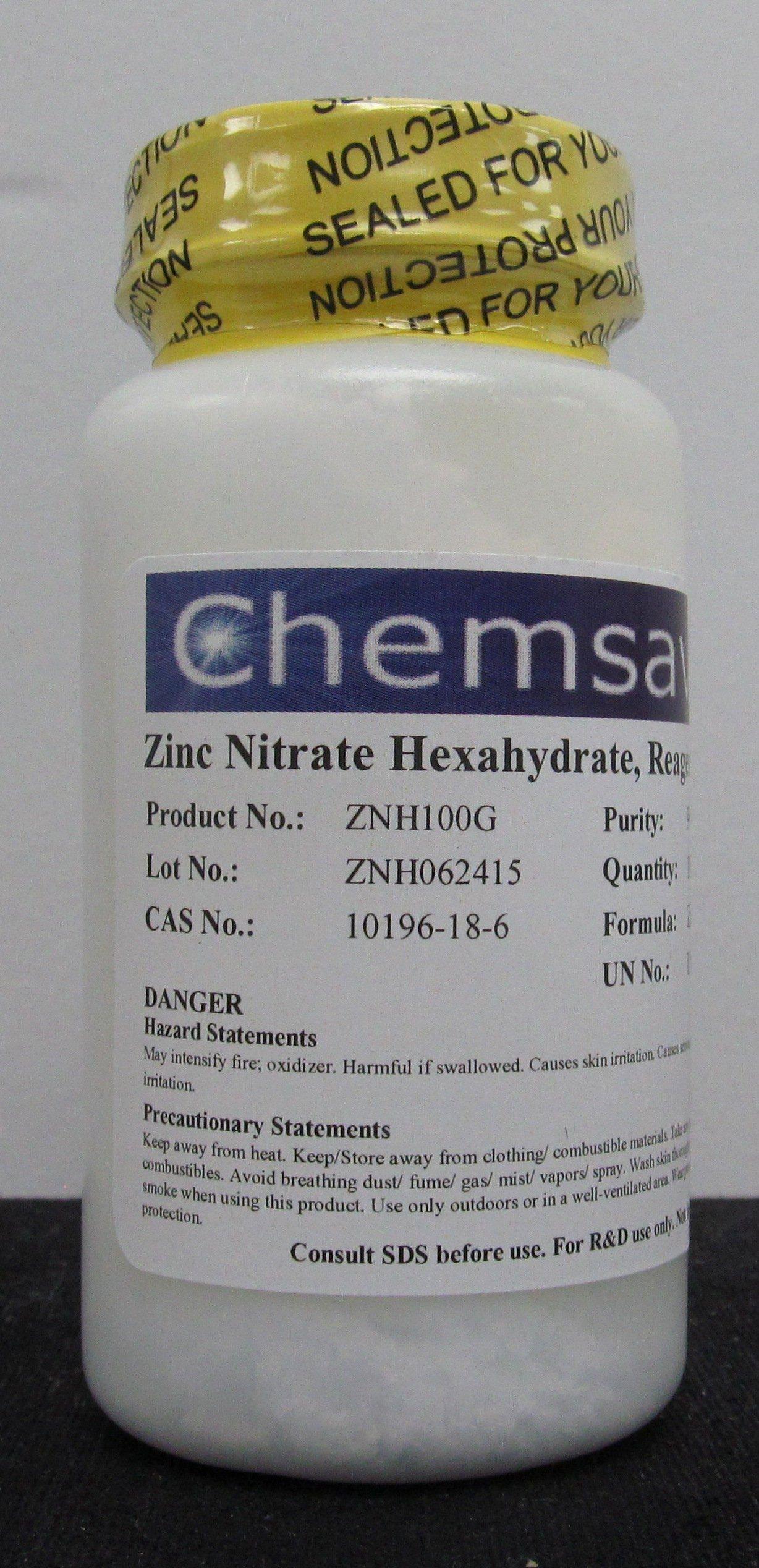 Zinc Nitrate Hexahydrate, Reagent, 99+%, 100g