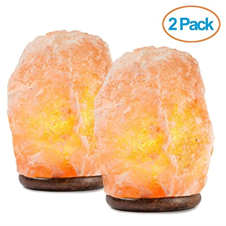 Lovely HemingWeigh Natural Himalayan Salt Lamp Hand Carved With Genuine Wood Base,  Bulb And On And