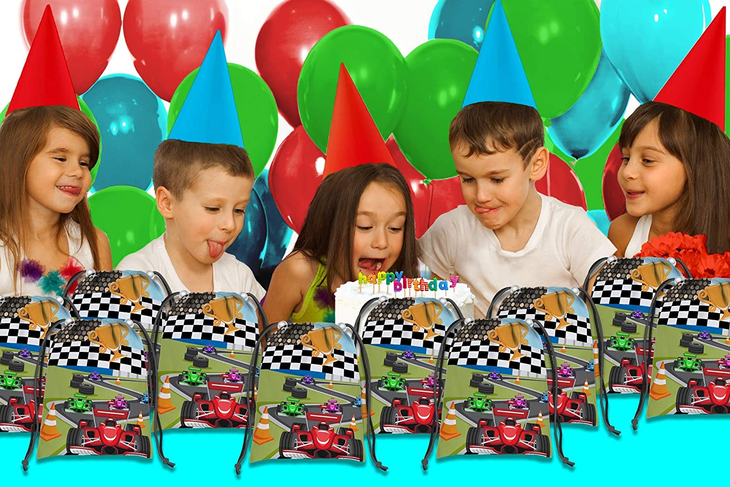 Racing Race Car Drawstring Bags Kids Birthday Party Supplies Favor Bags 10 Pack Birthday Galore