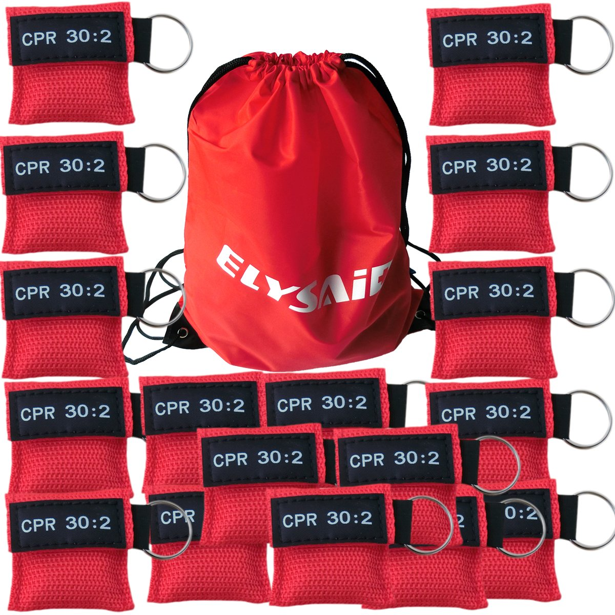 100Pcs/Pack Cpr Mask With Key Ring Cpr Face Shield For AED Training Mouth to Mouth First Aid Red Pouch Logo CPR 30:2 by KTKANG