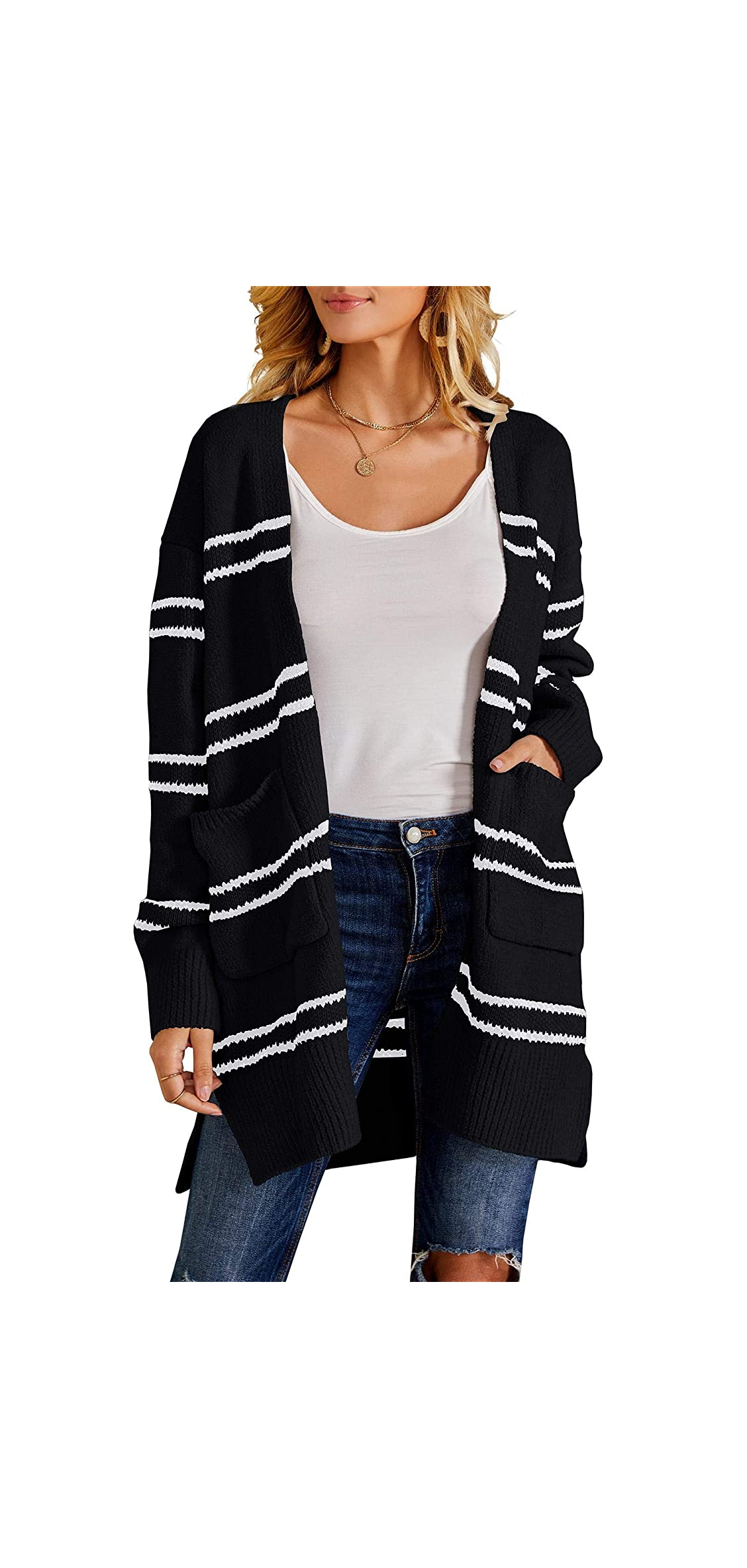 Women Fleece Cardigan Striped Boyfriend Sweaters Long