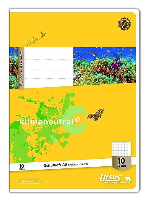 16 Blatt 5 mm kariert mit Rand 90 g//qm LIN10 A5 Heft