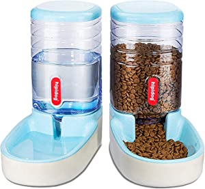 Lucky-M Pets Automatic Feeder and Waterer Set,Dogs Cats Food Feeder and Water Dispenser 3.8L,2 in 1 Cat Food Water Dispensers for Small Medium Big Pets (Blue)