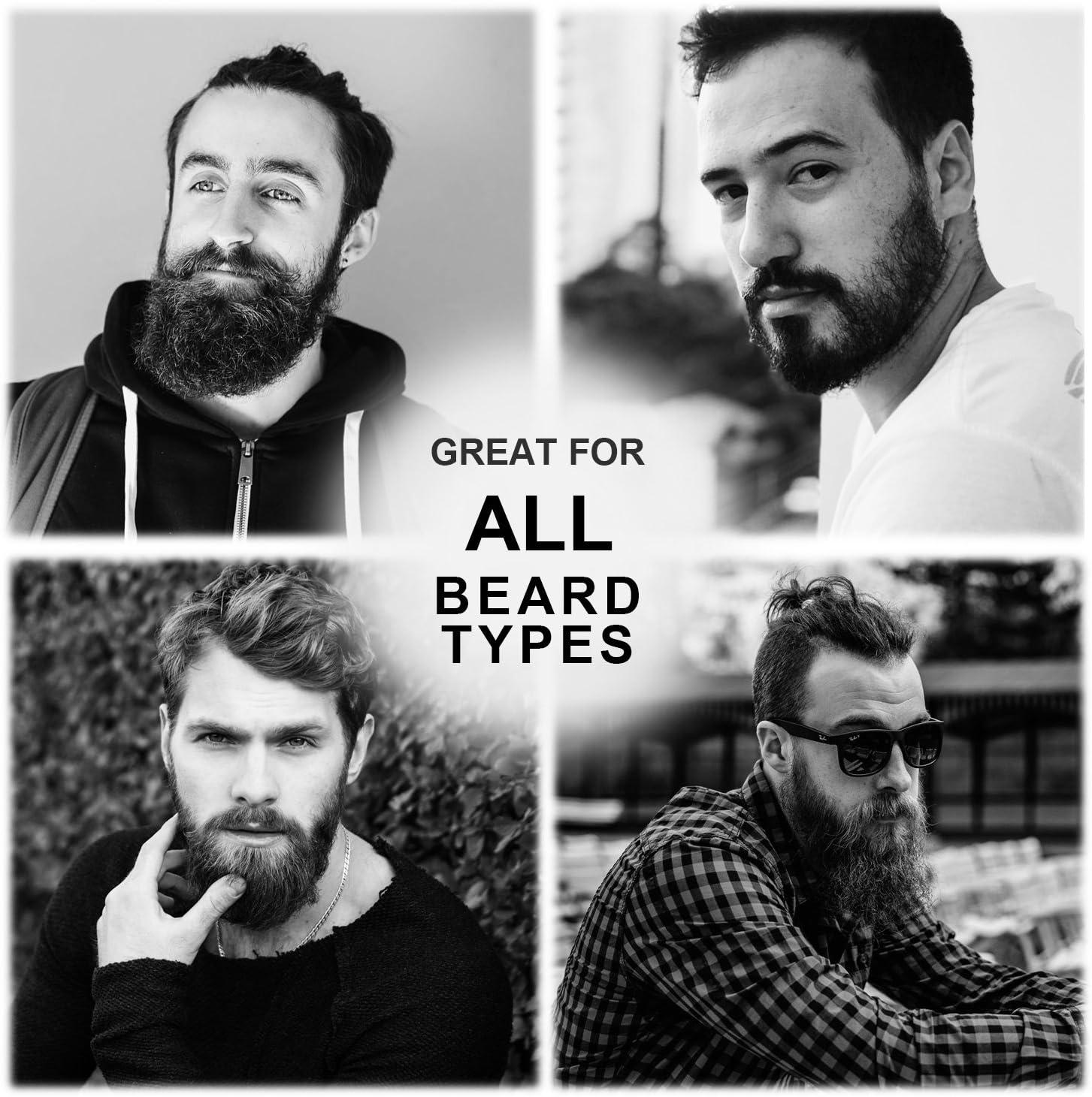 BFWood Kit de Barba para Hombres – Cepillo de Barba Cerdas de Jabalí para Viaje + Peine de Barba Madera de Ébano + Bálsamo de Barba Aroma de Sándalo ...