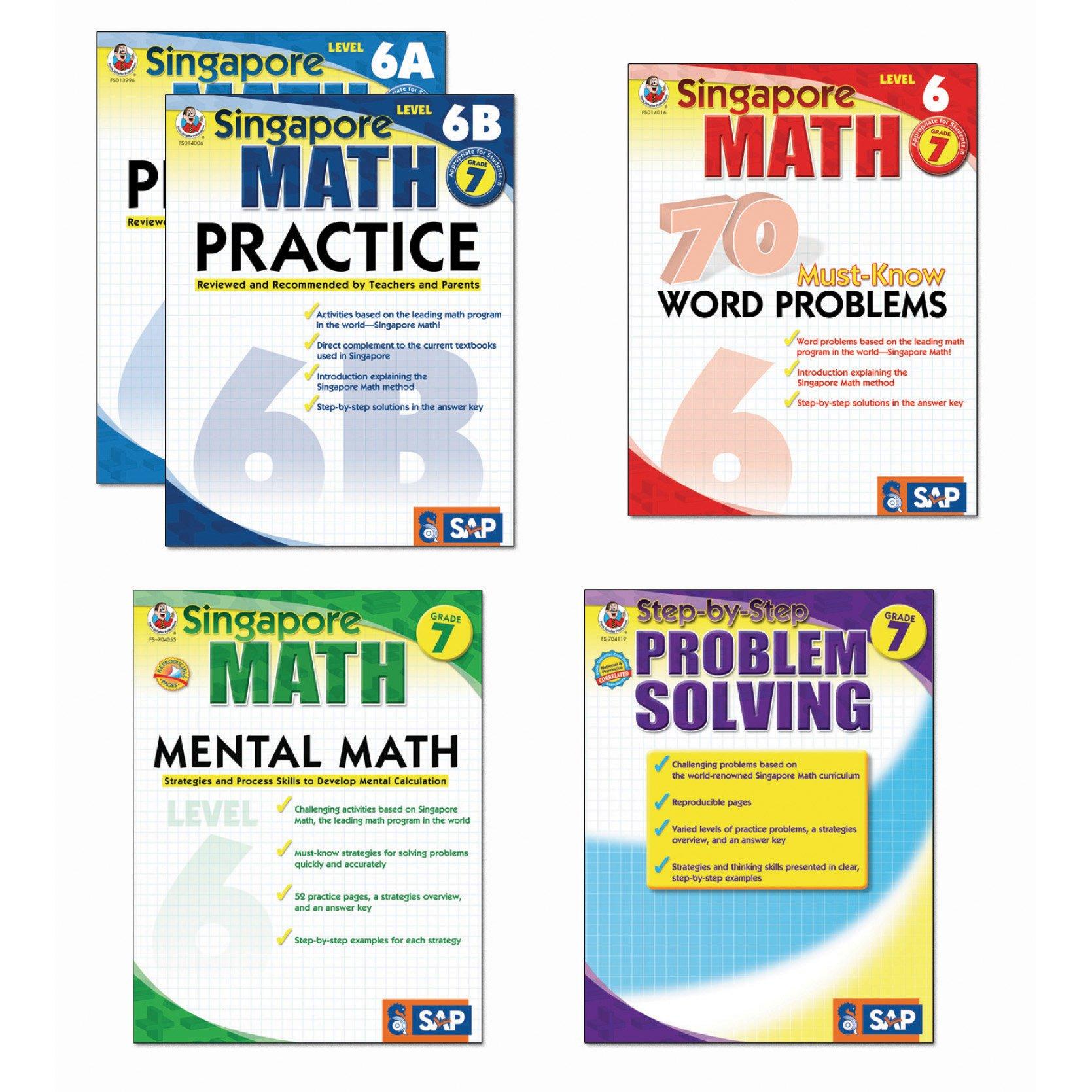 Carson-Dellosa FS-704182 Singapore Math Bundle, Grade 7 (Pack of 5)