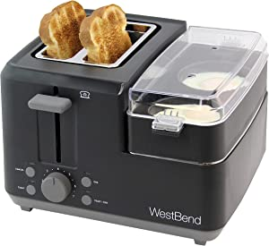 West Bend 78500 2-Slice Breakfast Station Wide Slot Toaster with Removable Crumb Includes Meat and Vegetable Warming Tray with Egg Cooker and Poacher Certified, Black