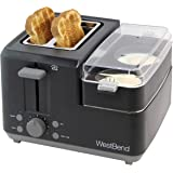 West Bend 78500 2-Slice Breakfast Station Wide Slot Toaster with Removable Crumb Includes Meat and Vegetable Warming…