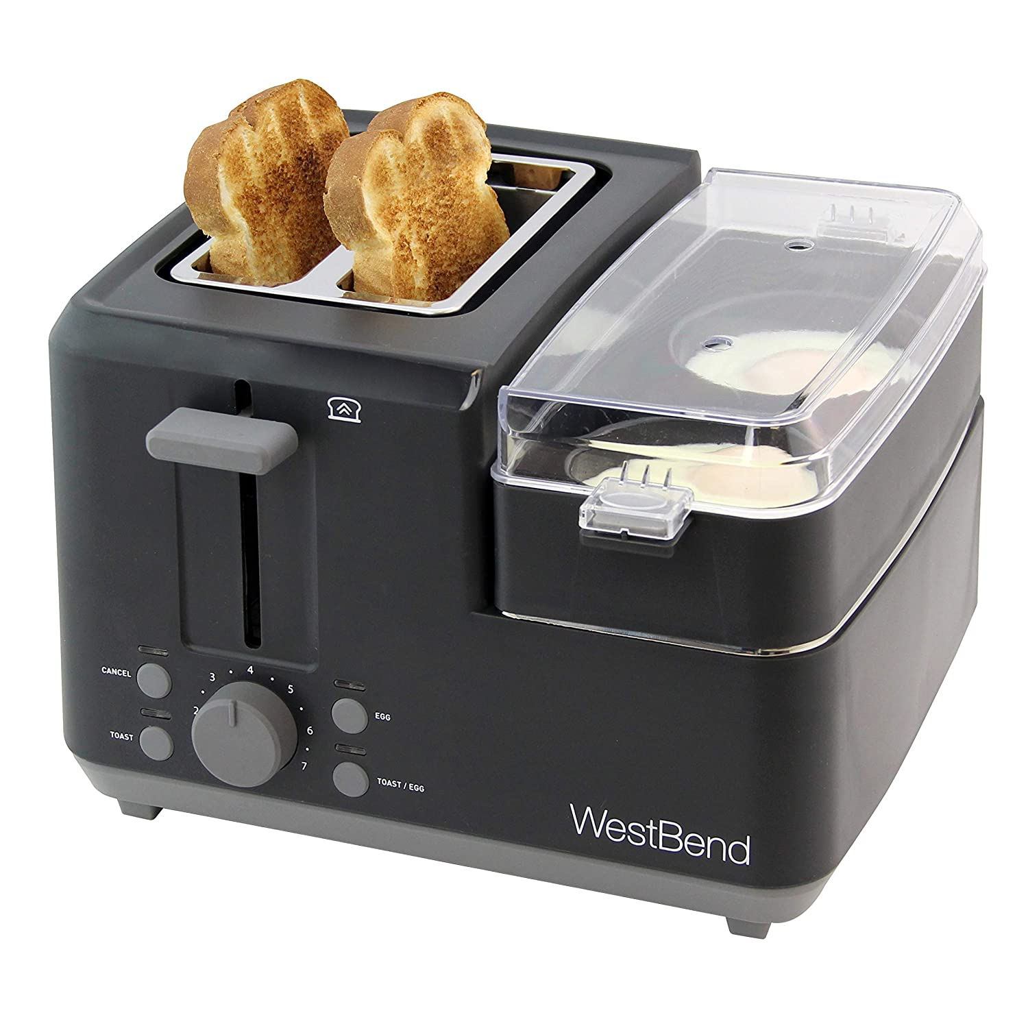 West Bend 78500 Breakfast Station Quick Egg Bagel and Muffin Wide Slot Toaster with Removable Crumb Tray With Meat or Vegetable Warming Tray with Egg Cooker and Poacher, 2-Slice, Black