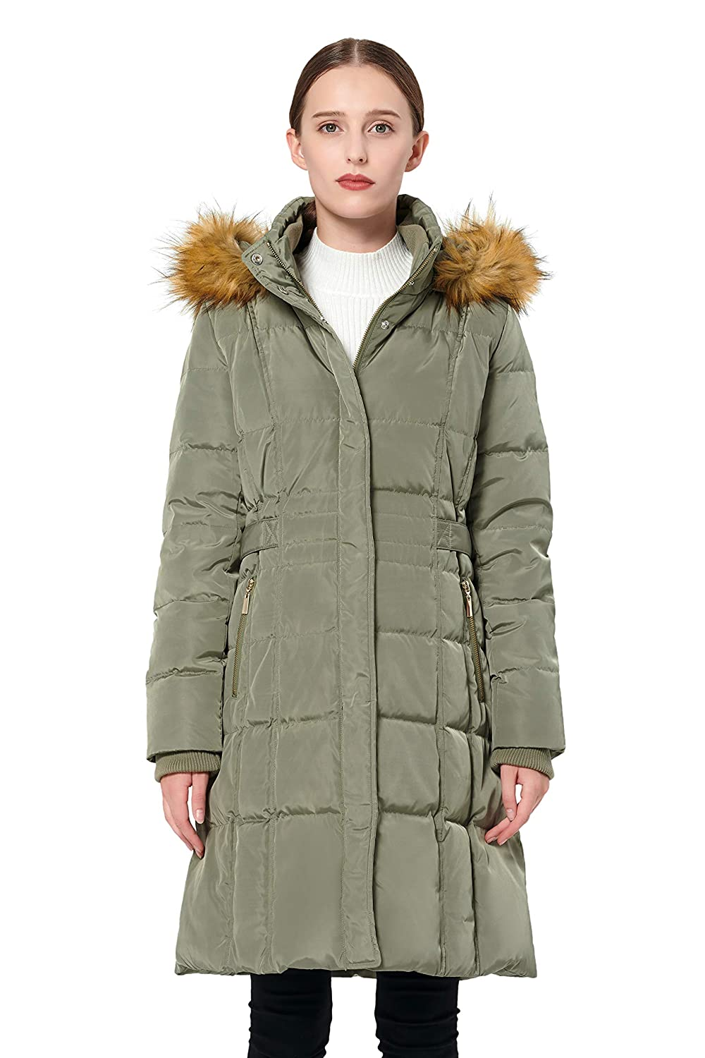 Orolay Womens Puffer Down Coat Winter Jacket with Faux Fur Trim Hood