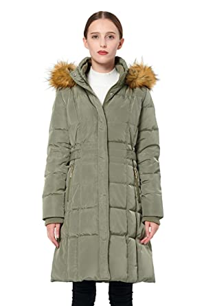 1e1afe7359c Orolay Women's Puffer Down Coat Winter Jacket with Faux Fur Trim Hood  YRF8020Q ArmyGreen XS