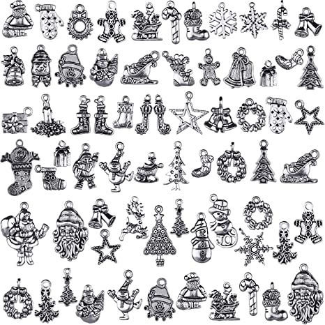70 Pieces Christmas Snowflake Charm Silver Collections Antique Pendant Charms Jewelry Crafting Supplies for DIY Necklace Bracelet Christmas Snowflake
