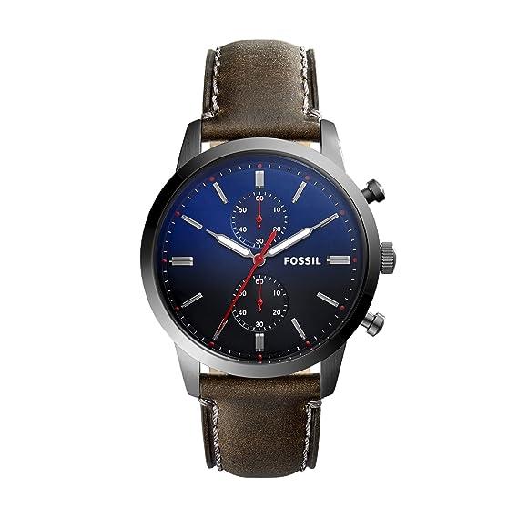 Fossil Reloj Cronógrafo para Hombre de Cuarzo con Correa en Cuero FS5378: Amazon.es: Relojes