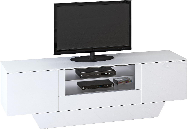 Jahnke STUDIO-BOARD 2100 SV(M)HG-WS/WS T.1-3 TV-Lowboard, E1-Spanplatten, melaminharzbeschichtet, ESG-Sicherheitsglas, weiß, 213 x 45.5 x 68 cm