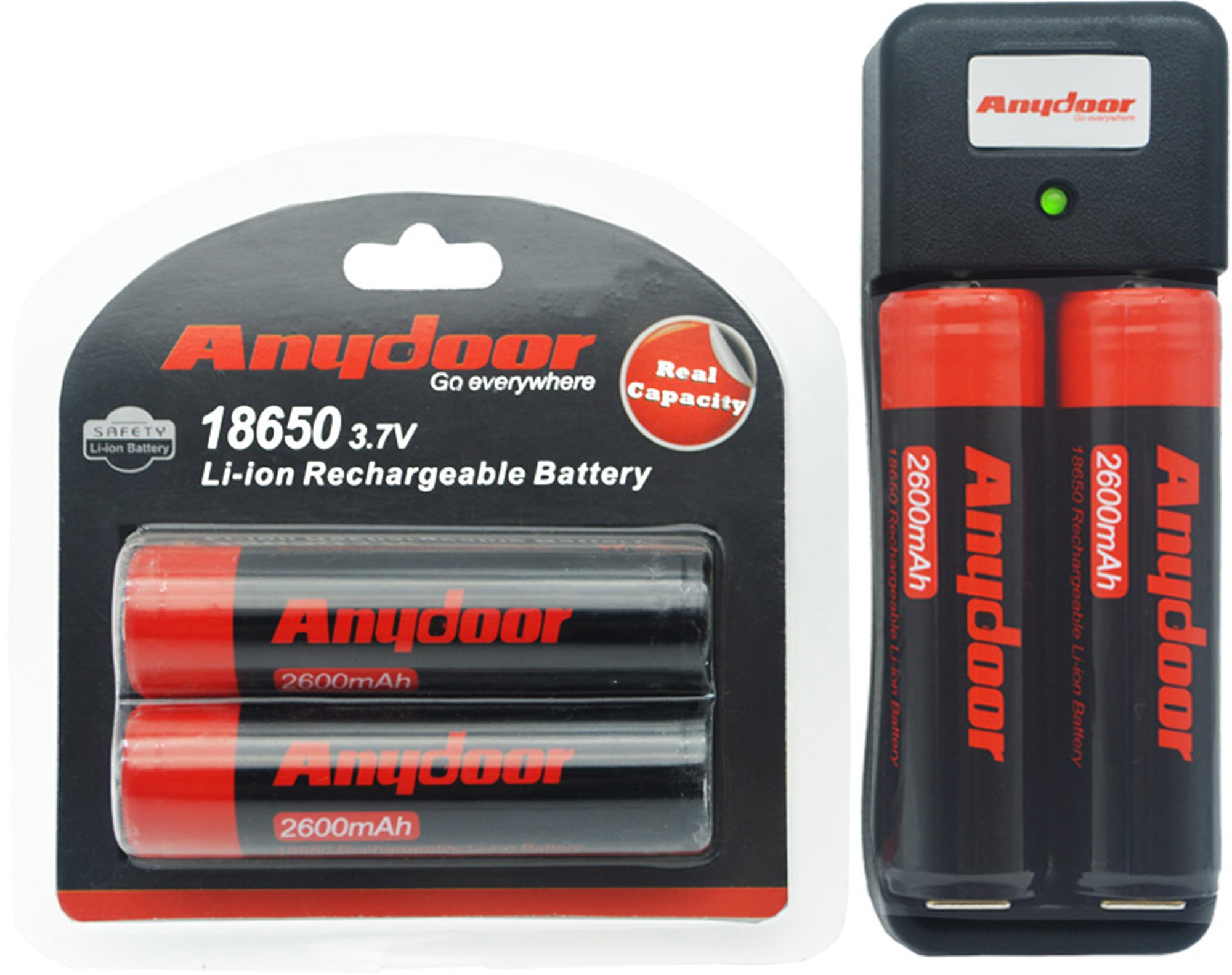 Anydoor 18650 Rechargeable Li-ion Battery with PCB Protected 3.7v 2600mAh High Capactiy 4pcs for Flashlight with Charger