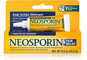 Neosporin + Maximum-Strength Pain Relief Dual Action Ointment, First Aid Topical Antibiotic & Analgesic Ointment for 24-Hour Infection Protection with Bacitracin Zinc & Pramoxine HCl,.5 oz