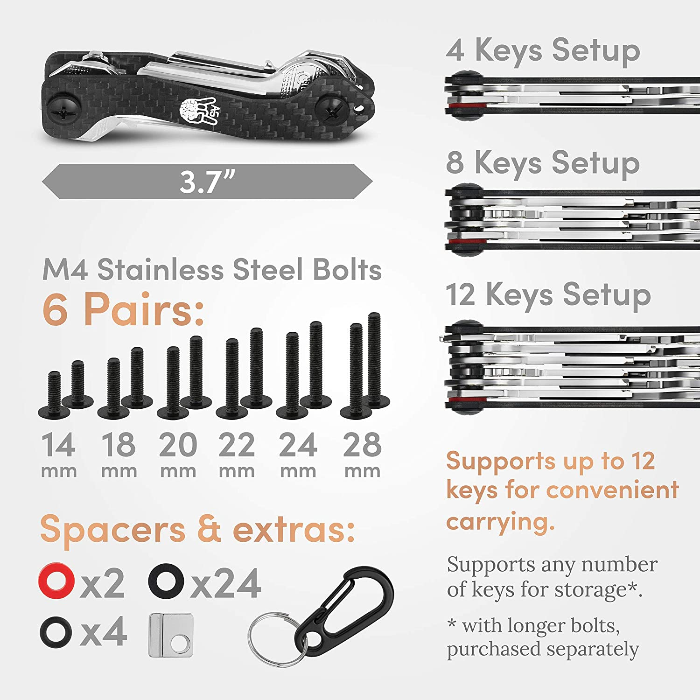 House /& Car Keys Carbon Fiber Personal Pocket EDC Gadget AmazinGizmo Folding Key Holder /& Compact Organizer Keychain up to 12 Keys /& More Lightweight Yet Heavy-Duty with Carabiner Black