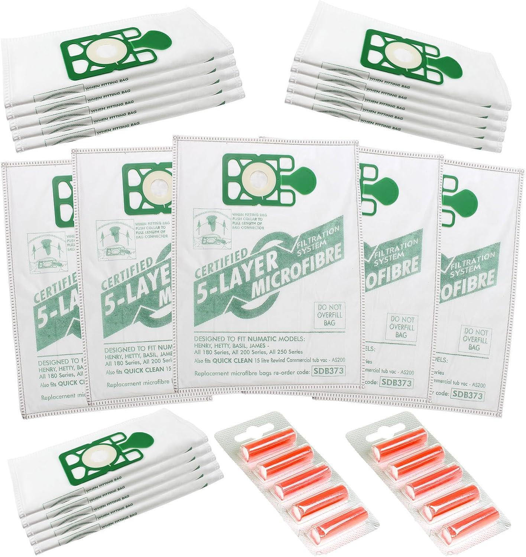 Qualtex Numatic Henry Hetty Hoover Filter Flo, Pack de 20 Bolsas de Polvo y 5 Ambientadores: Amazon.es: Hogar