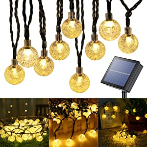 Lomotech Globe Solar String Lights, 72 Feet 100 LED Outdoor Bulb String Lights, Waterproof Outdoor Globe Fairy Lights with 8 Modes and Memory Function for Patio,Garden,Gazebo,Yard(Warm White)