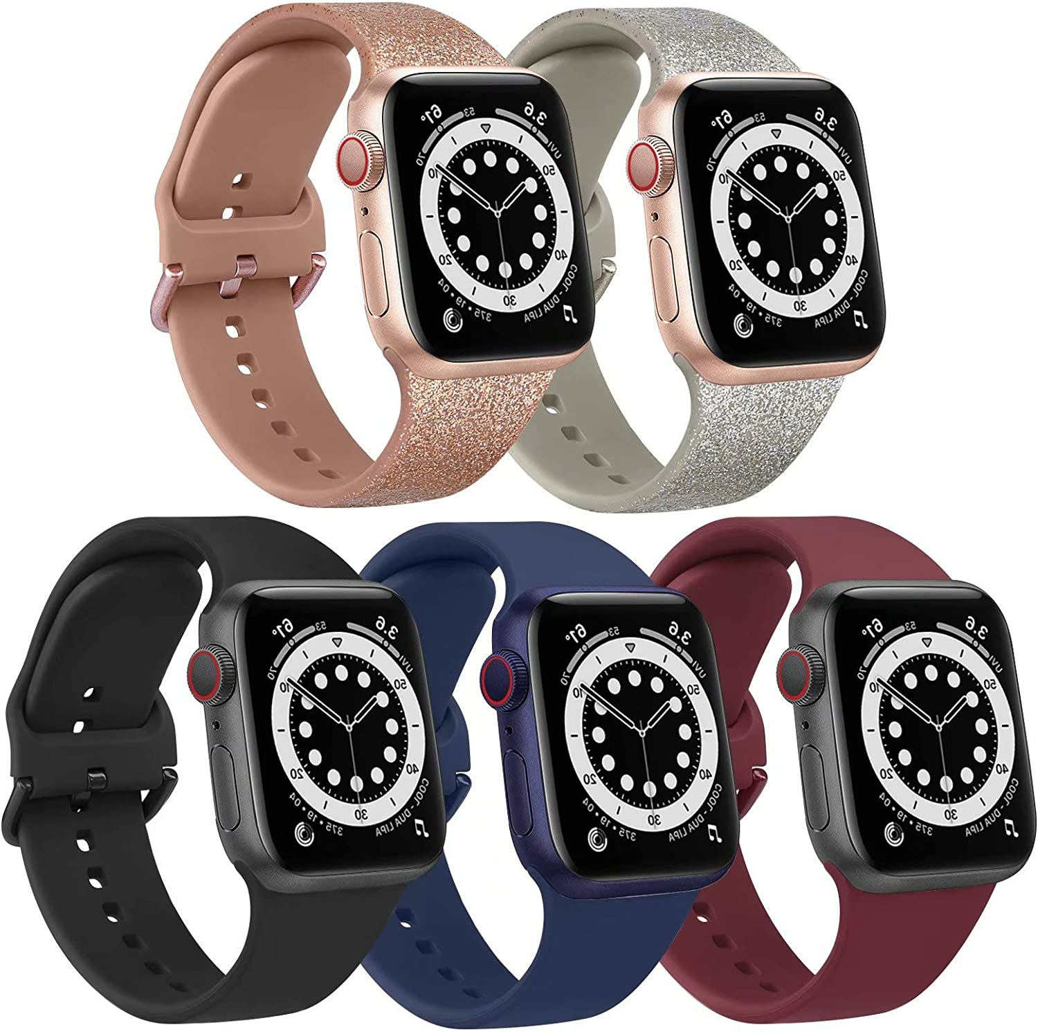 [5 Pack] Bands Compatible with Apple Watch Band 44mm 42mm Soft Silicone Sport Replacement Strap (42/44mm, Glitter Rose Gold/Glitter Silver/Black/Blue/Wine Red)